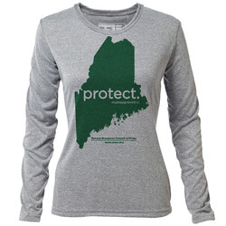"protect. Maine ""Customize Graphic Color"" - Womens LS Hybrid T"